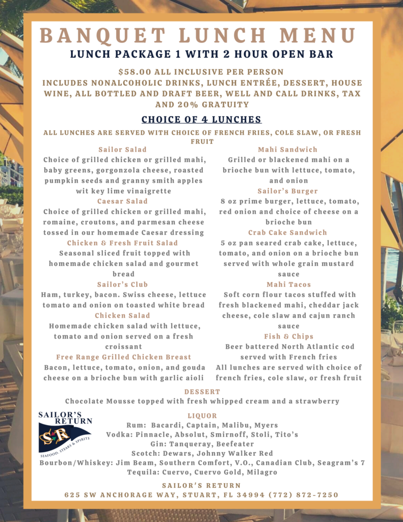 Banquet Lunch Package 1 with 2 Hour Open Bar